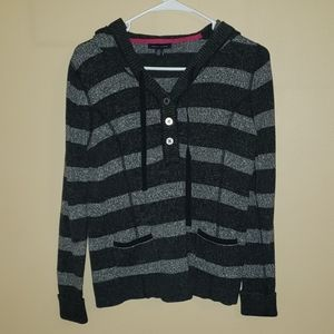 Tommy Hilfiger Grey Striped Medium Hodded Sweater